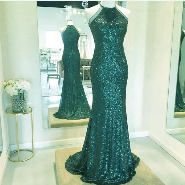 charming sparkle formal sequin green long prom dress, PD6220