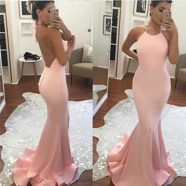 pink backless mermaid long prom dress, PD6330