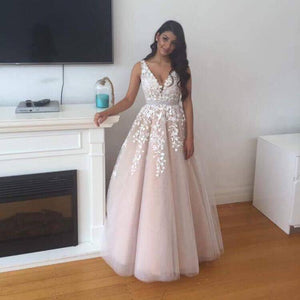 tulle A-line v-neck lace appliques long prom dress, PD6329