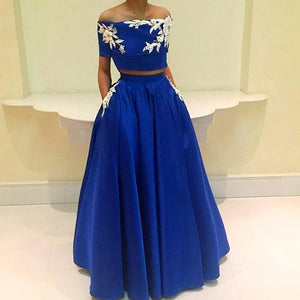 off shoulder short sleeves royal blue two pieces long prom dress, PD6328