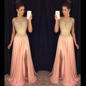 charming scoop formal chiffon beaded side slit long prom dress, PD5579