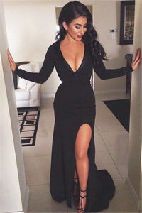 sexy black v-neck side slit long sleeves mermaid formal long prom dress, PD7087