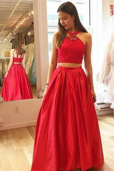 two pieces red A-line satin long prom dress, PD7085