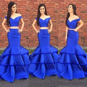 off shoulder two pieces satin mermaid 2017 long prom dress, BD5223