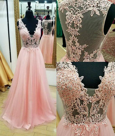 chiffon v-neck pink lace appliques long prom dress, PD7308