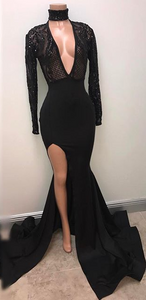 Mermaid Long Sleeve V-Neck Sexy Evening Gown Split Sexy Black Prom Dress