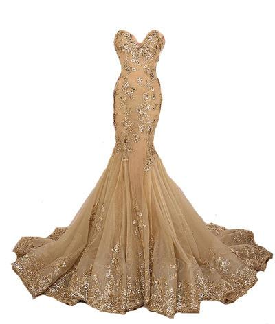 gold prom dress, gorgeous prom dress, mermaid prom gown, sweetheart prom dress, formal evening dress, BD151