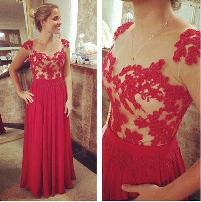 red prom dress, long prom dress, cap sleeves prom dress, lace prom dress, cheap evening dress, BD518
