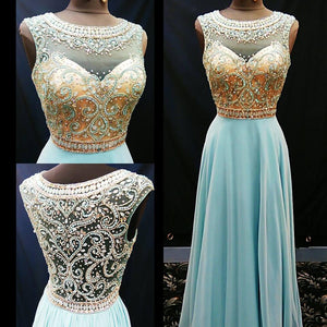blue prom dress, long prom dress,o neck prom dress, 2017 evening gown, BD11