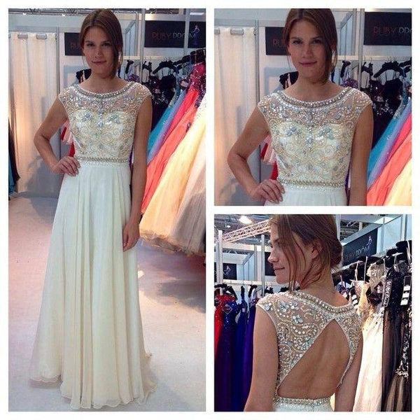 ivory prom dress, long prom dress, chiffon prom dress, beaded prom dress, charming evening dress, BD18