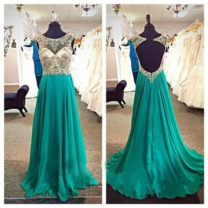 green prom dress, long prom dress, open back prom dress, beaded prom dress, charming evening dress, BD523