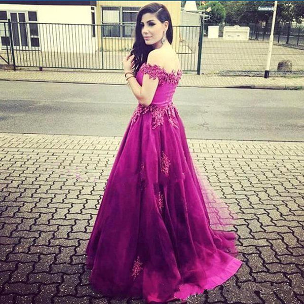 hot pink prom dress, long prom dress, off shoulder prom dress, A-line prom dress, charming evening gown, BD23