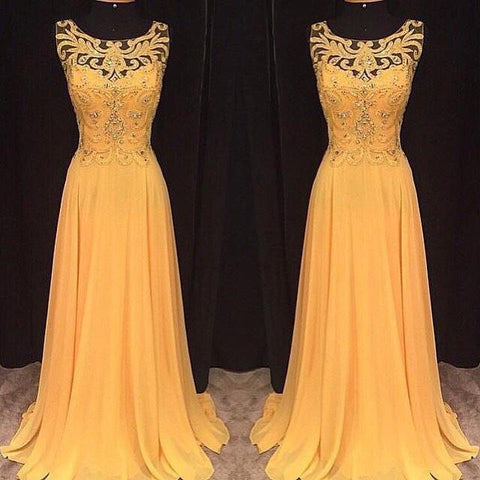 yellow prom dress, long prom dress, chiffon prom dress, charming prom dress, formal evening dress, BD66