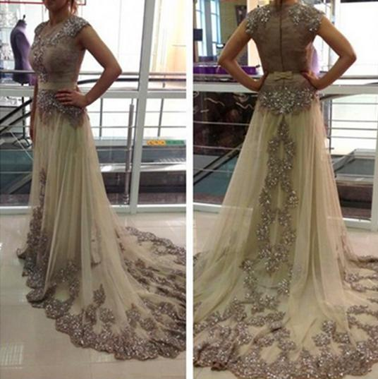 gold prom dress, long prom dress, charming prom dress, cap sleeves prom dress, tulle evening dress, BD516