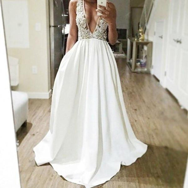 white v-neck long A-line unique charming 2017  prom dress, PD3018