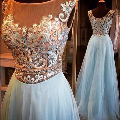 light blue prom dress, long prom dress,charming prom dress, beauty prom dress, 2017 evening dress, BD81