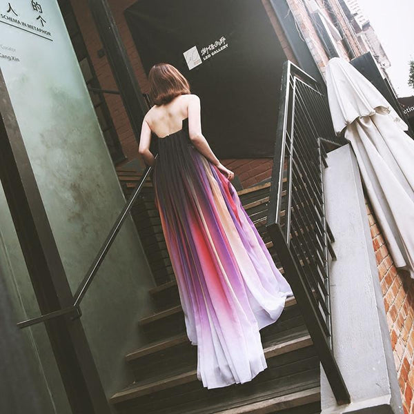 chiffon prom dress, long prom dress, strapless prom dress, Gradient prom dress, cheap evening dress, BD84
