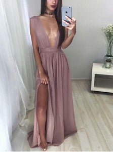 dusty purple sexy deep v-neck chiffon side slit long prom dress, PD9977