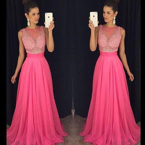 scoop beaded chiffon hot pink long 2017 prom dress, PD6216