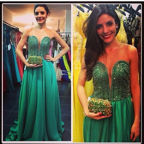 charming formal green beaded sweetheart long prom dress, PD6224