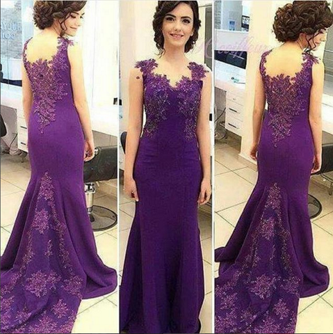 purple lace mermaid elegant 2017 long prom dress, PD8628