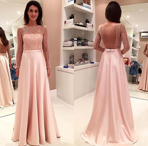 blush pink long sleeves backless 2017 long prom dress, PD8629