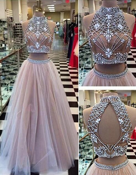 Gorgeous Two Pieces Prom Dresses,Sexy tulle Prom Dresses,Lace Prom Dresses, PD2707