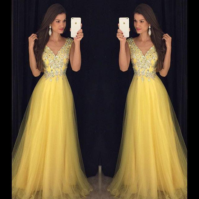 yellow beaded tulle v-neck charming 2017 long prom dress, PD8627