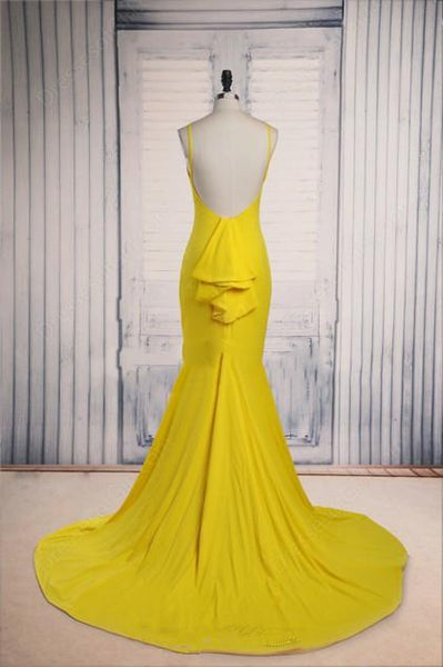 yellow mermaid backless cheap formal 2017 simple long prom dress, PD1366