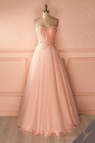 2017 pink tulle A-line long prom dress, PD7657