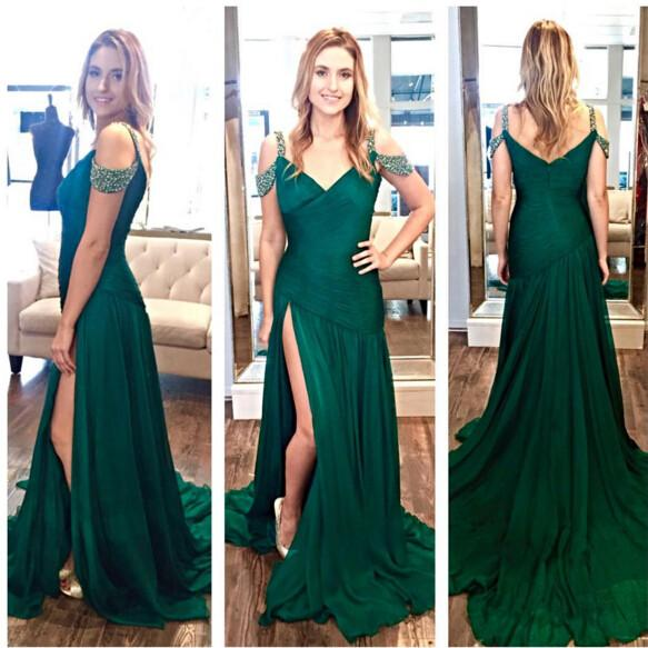 dark green chiffon off shoulder side slit formal 2017 long chiffon prom dress, PD1475