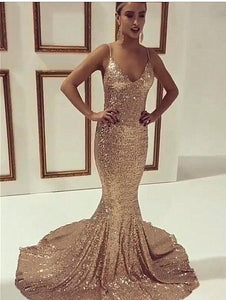 gold sequin spaghetti straps long mermaid formal sparkle evening prom dress, PD3016