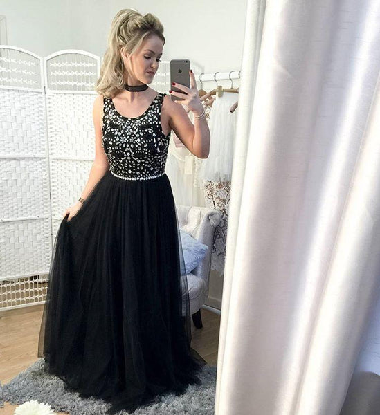 black tulle beaded cheap 2017 long prom dress, PD1479
