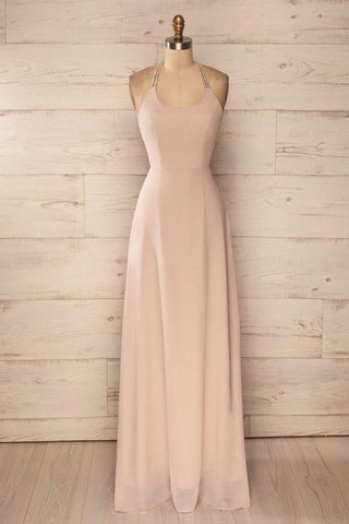 halter chiffon simple cheap long prom dress, PD1483