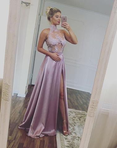 stylish lilac high neck lace side slit long prom dress, PD6547