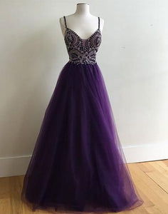 2017 spaghetti straps A-line tulle beaded long purple prom dress, BD7815