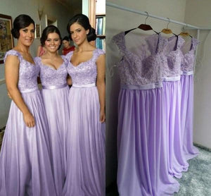 lilac chiffon long beautiful lace top cheap bridesmaid dresses, BD2019