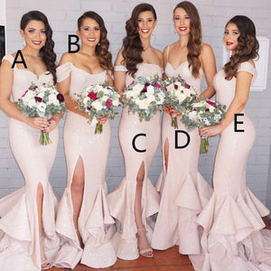 Mismatched long mermaid blush pink side slit sequin bridesmaid dresses,BD12001