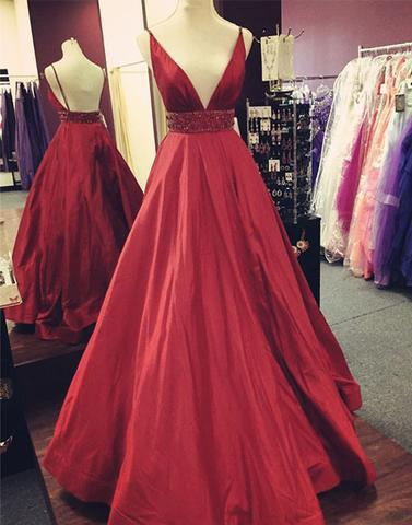 red A-line backless v-neck long charming cheap formal 2017 prom dress, PD5700