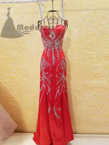 red chic rhinstone prom dress column short train spaghetti straps evening dress,HS352