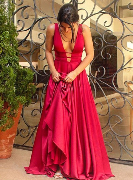 red v-neck long prom dress a-line satin backless formal evening dress,HS280
