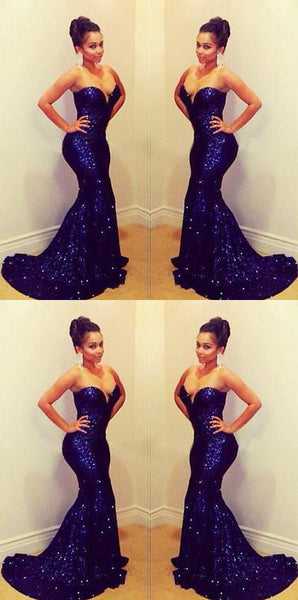 royal blue prom dress, long prom dress, mermaid prom dress, sequin prom dress, sweetheart evening dress