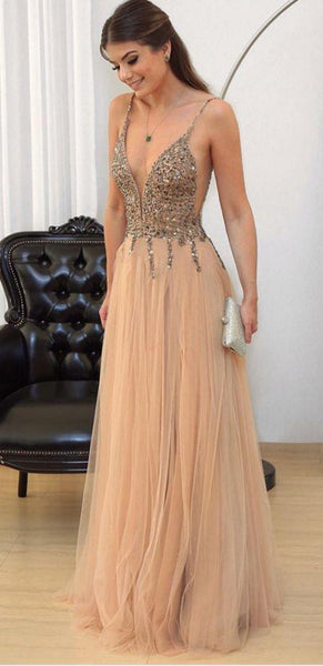 sexy deep v-neck long prom dress a-line beading evening dress