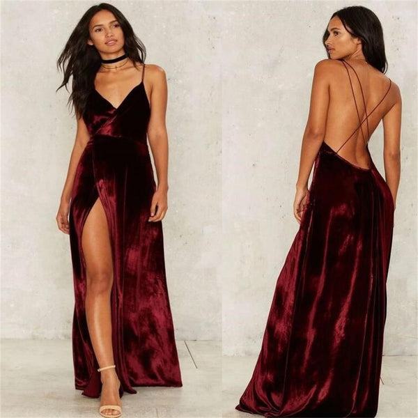 sexy long prom dress backless spaghetti straps cheap evening dress with high slit,HS279