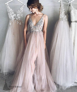 sexy v-neck long prom dress applique wedding dress tulle a-line evening dress,HS362