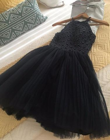 tulle beaded navy blue short homecoming dress, HD190