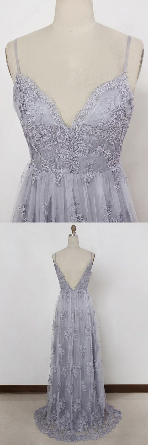 2018 grey spaghetti straps prom dress applique backless evening dress a-line tulle wedding dress,HS110