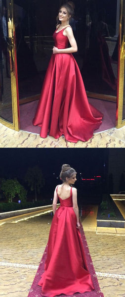 spaghetti straps prom dress backless sleeveless a-line satin long evening dress,HS233
