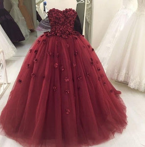 strapless ball gowns flower tulle long prom dress formal evening dress,HS300