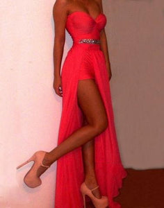 Coral Chiffon Sweetheart Neckline Floor Length Prom Dress, Evening Dress